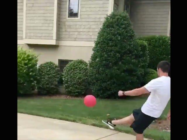 NFL Kicker Graham Gano Brings His Family Kickball Game To A Satisfying End