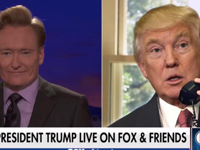 Conan O'Brien lures Trump with a Fox & Friends logo on Conan