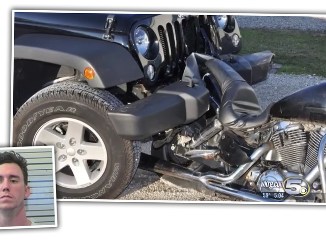 Guy Suspected Of DUI Drives Home With Motorcycle Wedged In His Jeep's Bumper
