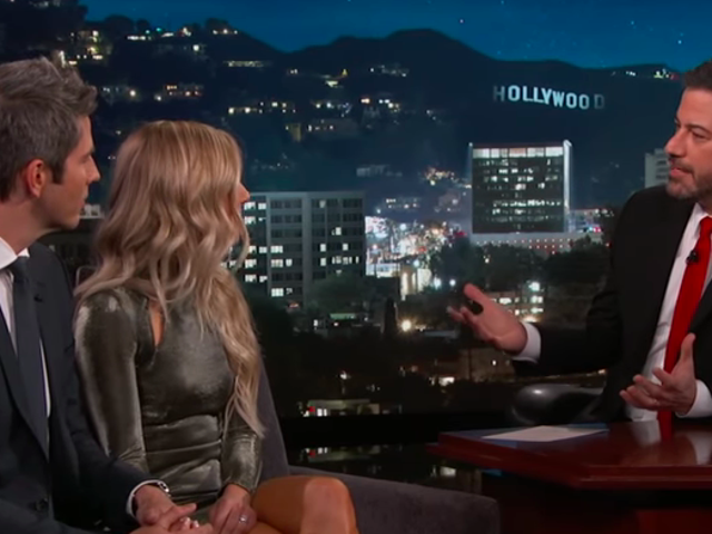 Jimmy Kimmel tests the resolve of The Bachelor's Arie and his second first choice, Lauren