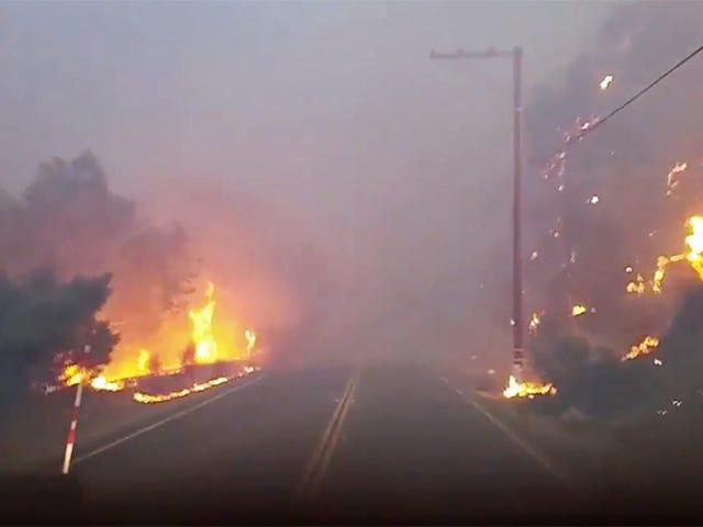 Oto widok z pługa ciężarówki płonącej w piekle pożarów w Kalifornii