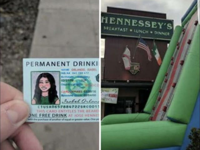 Orange County Bar Celebrates Cinco de Mayo With Inflatable Border Wall, Fake Green Cards
