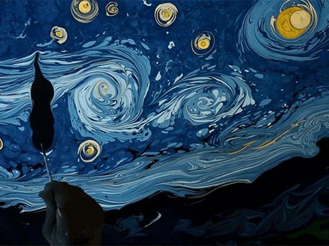 At genskabe Van Goghs Starry Night ved hvirvlende maling på vand er ret utroligt
