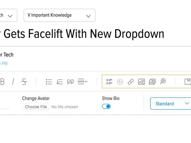 Konsolidierte Werkzeugsymbole in einem Dropdown-Menü im Editor, um Speicherplatz freizugeben