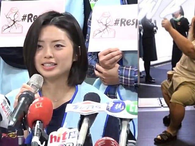 Critican a una aerolínea pl Taiwán después de que una azafata se viera forzada a limpiar el trasero de un hombre de 200 kg en pleno vuelo