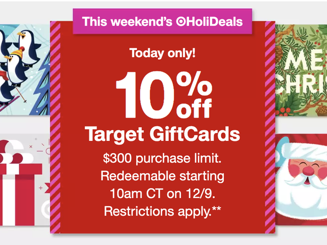 Today's The Day! Get 10% Off Target Gift Cards, For One Day Only