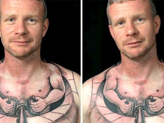 El tatuaje más grande del camionero del mundo hace que este tipo parezca una persona diminuta que conduce a otro ser humano