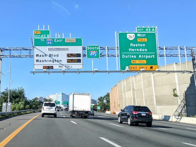 Back-to-school traffic means crazy high dynamic toll prices on I-66 E from VA to DC