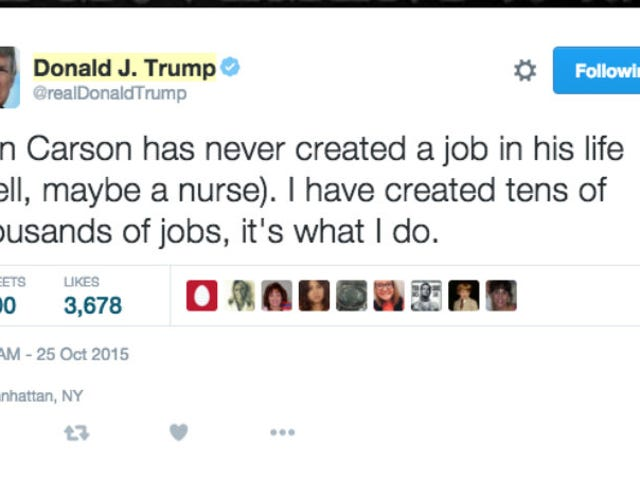 All The Insults Donald Trump Has Tweeted About Ben Carson, Who's Now Endorsing Him