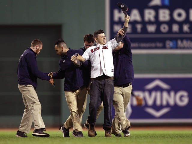 Chowdahead On The Field At Fenway Park Gets Blindsided By Security In The Outfield
