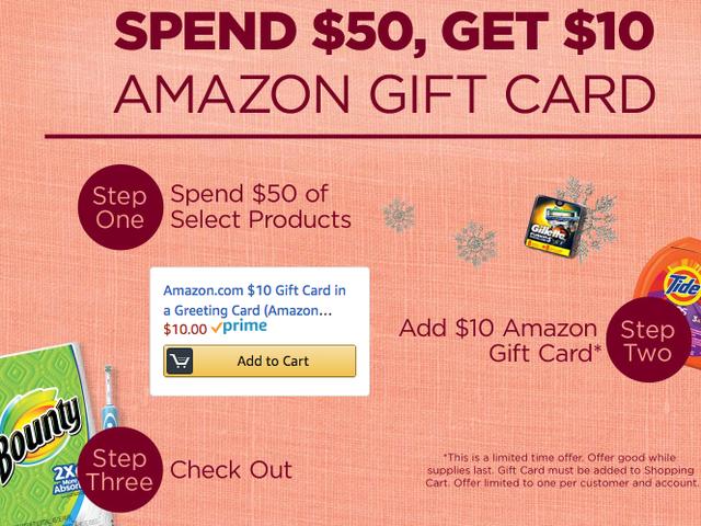 जब आप घरेलू आवश्यक वस्तुओं पर $ 50 खर्च करते हैं, तो अमेज़न आपको $ 10 गिफ्ट कार्ड देगा