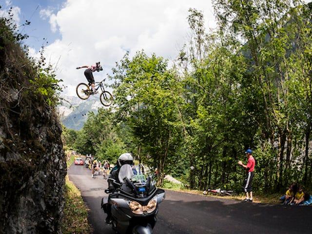 Mountain Biker Jumps Over Tour de France Peloton - with POV Footage