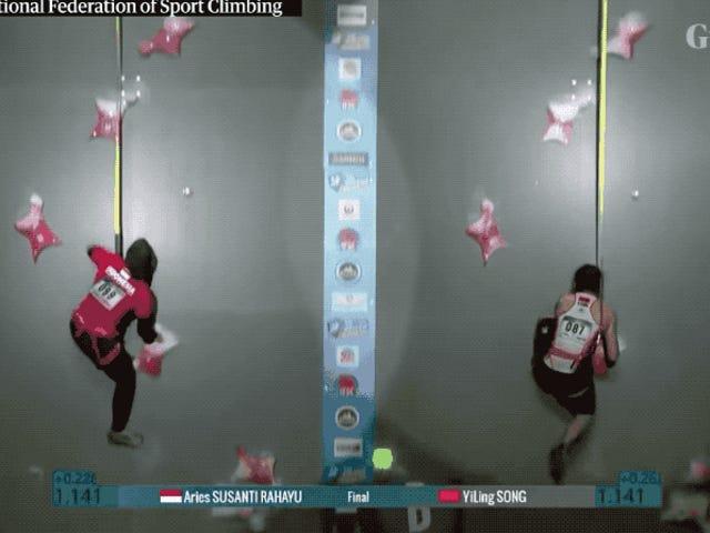 Esta mujer acaba de pulverizar el récord mundial de escalada rápida. Verla en acción es casi irreal
