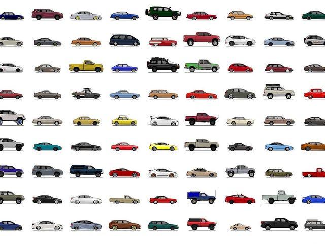 Agora é a sua chance de obter um cartaz com literalmente cada único Toyota já vendido aqui