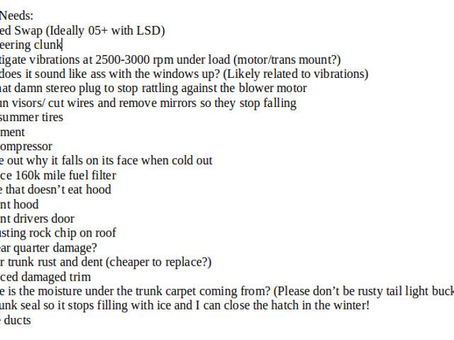 I made a list of all the things my Mini would need if I were to keep it.