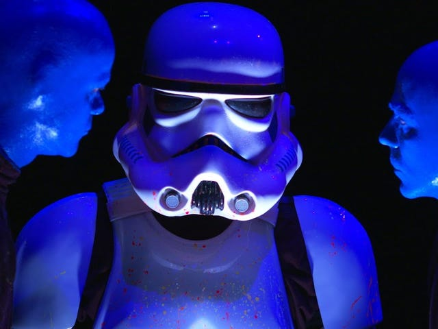 Storm Trooper tries out for Blue Man Group