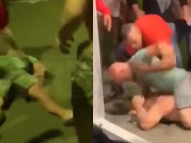 BJ Penn le dice a un tipo sin camisa que lo golpee, queda inconsciente, encuentra a un tipo más tarde para saltar y golpearlo