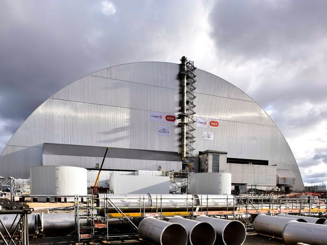 They have finished moving the new sarcophagus over Chernobyl