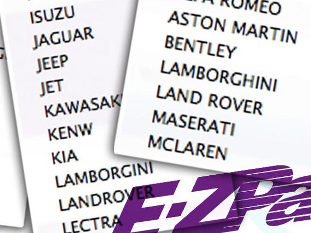 EZ Pass має найбільш Insanely Всеосяжний Автомобіль Список Колись