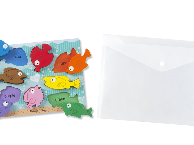 Store Your Toddler's Peg Puzzles in Clear Poly Envelopes