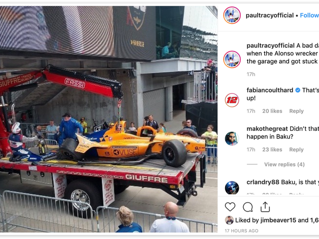 Wrecker Transporting Fernando Alonso's Wrecked Indy 500 Practice Car Also Wrecks