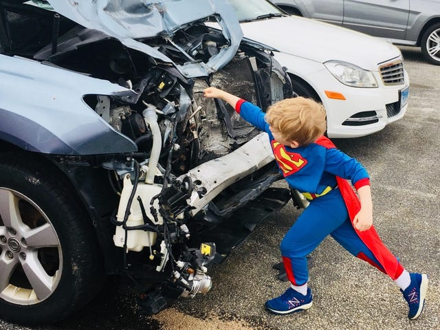 Tiny Superman's Strengths Include Destroying Cars and Taking Power Naps