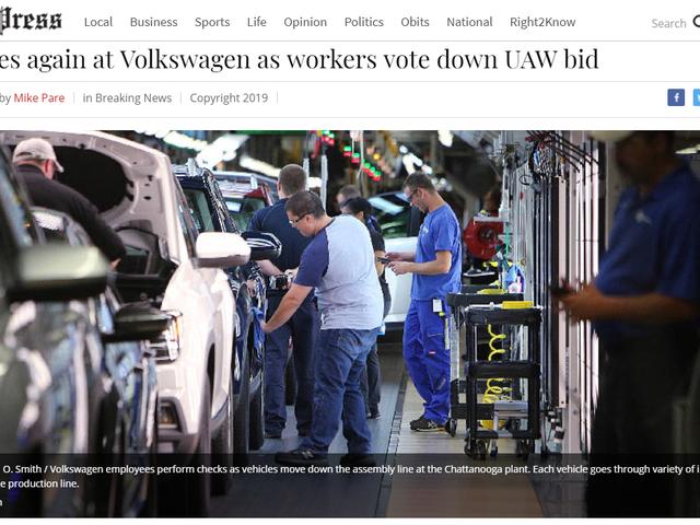 Volkswagen USA Workers UAW Temsilciliğine Oy Verdi