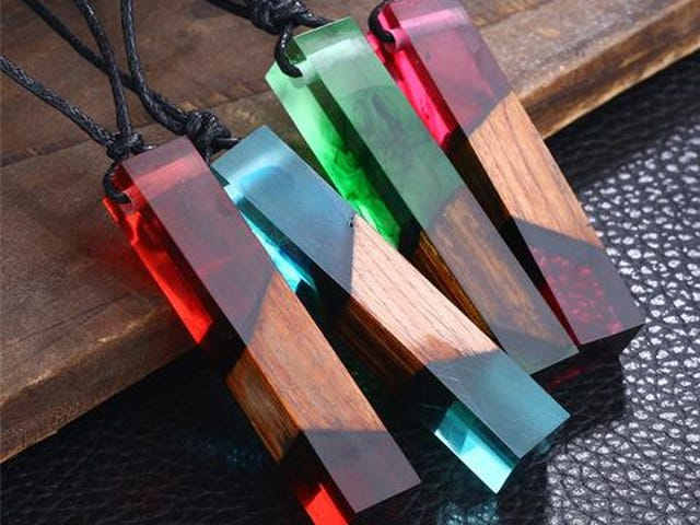 Fashion Colored Resin Wood Pendant Rope Chain Necklace