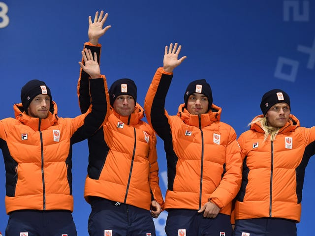 Dutch Speed Skaters Apologize For Jubilantly Tossing Giant Replica Medal At Fans