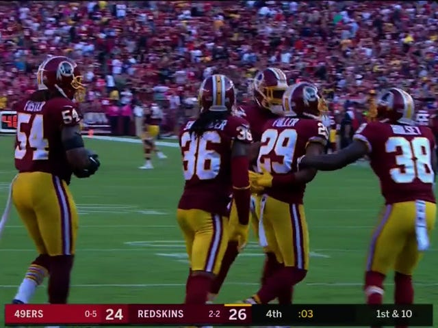 Redskins Defenders Celebrate Win By Simulating A Stop And Frisk