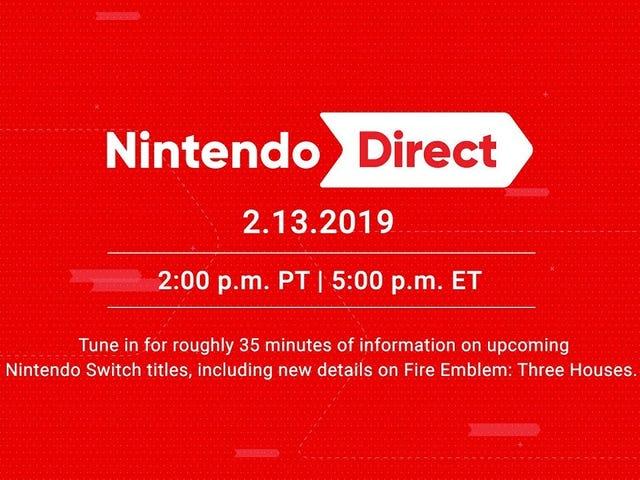 Dagens Nintendo Direct starter kl. 17.00 ET.  Du kan se lige her eller via YouTube, der er indlejret nedenfor.  Skal være 35 minutter fuld af ...