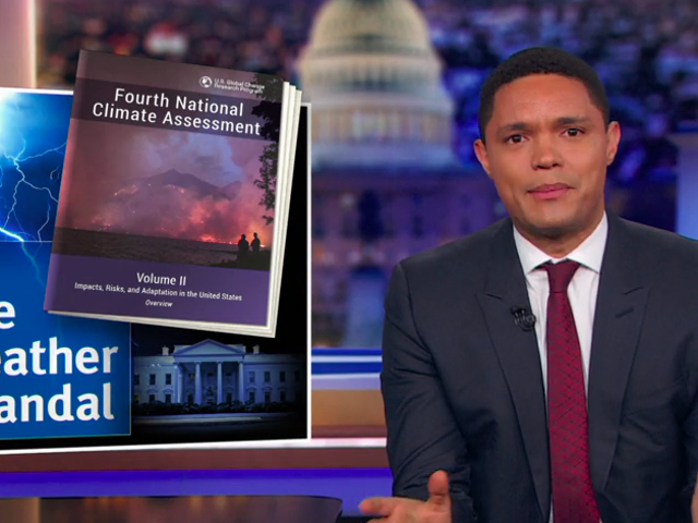 Trevor Noah mocks the rising tide of climate change deniers on cable news