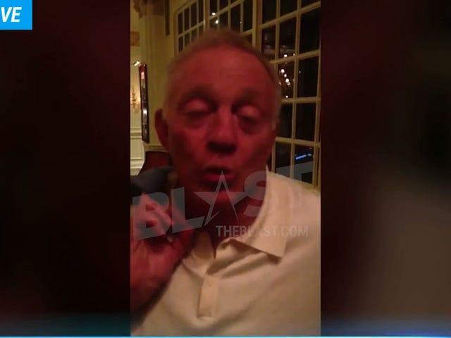 Her er video af en tilsyneladende drukket-off-his-ass Jerry Jones gør en dårlig joke