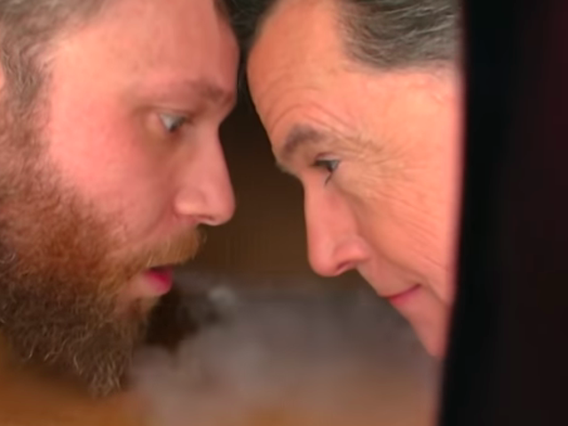 Seth Rogen regales The Late Show with his adventures in Trumpland, hotboxes Stephen Colbert