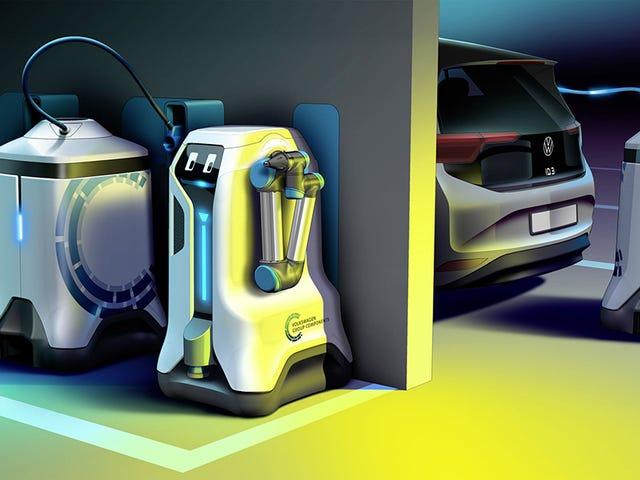 En el futuro no tendrás que buscar cargador. Este robot de Volkswagen busca tu coche eléctrico y lo carga