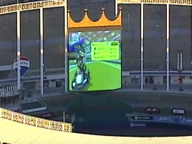 Royals Employees Were The Ones Playing Mario Kart On The Kauffman Stadium Jumbotron