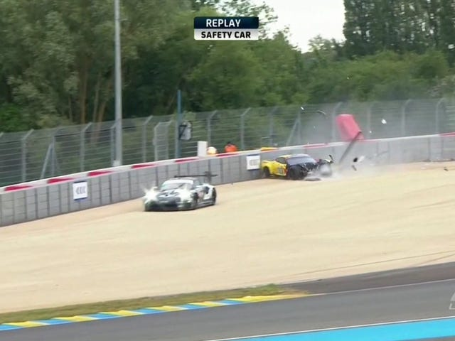 The First Big Crash of Le Mans Claims a Corvette