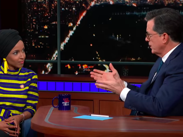 """Rep. Ilhan Omar calls out Fox News, telling Stephen Colbert she's in Congress to make """"good trouble"""""""
