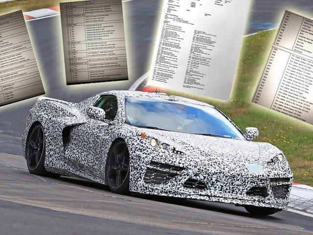 Colores, opciones para el Corvette de motor central detalladas en la guía de orden aparentemente filtrada