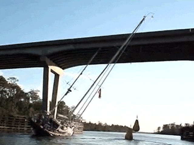 Watch a 80-Foot Tall Boat Somehow Clear a Bridge That's Way Too Low