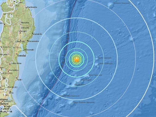 Un terremoto de magnitud 6,1 se producere en la costa de Japón, en poco más de 300 kilometre fra Fukushima
