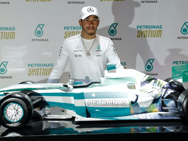 Formula One Car Improved By Giant Image Of Lewis Hamilton On Its Side