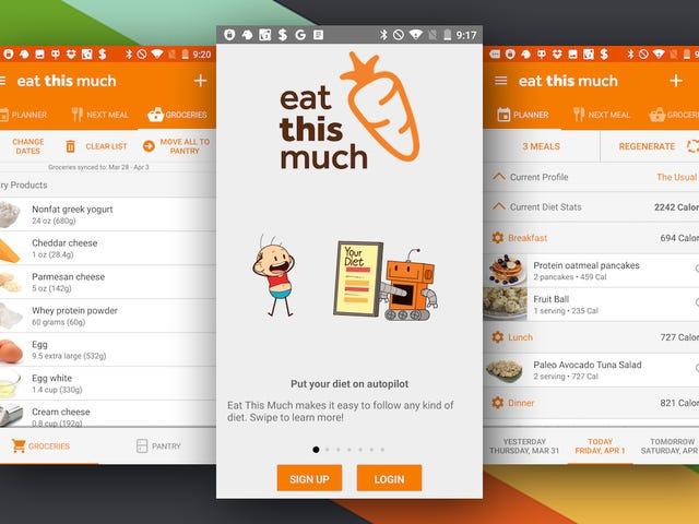 Ät så mycket som ger automatisk måltidsplanering till Android