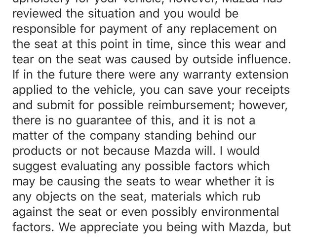 Mazda has told me to go on somewhere regarding my seat issue.