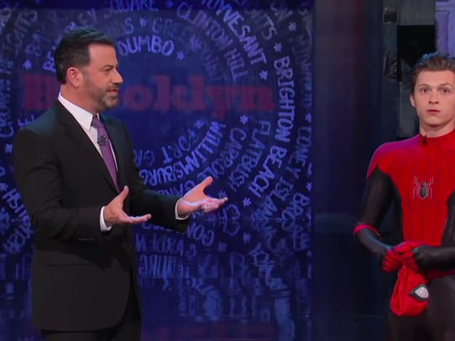 Tom Holland unveils his new Spider-Man suit, is a walking spoiler on Jimmy Kimmel Live!