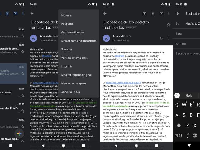 Cómo se activa el modo oscuro en la aplicación de Gmail