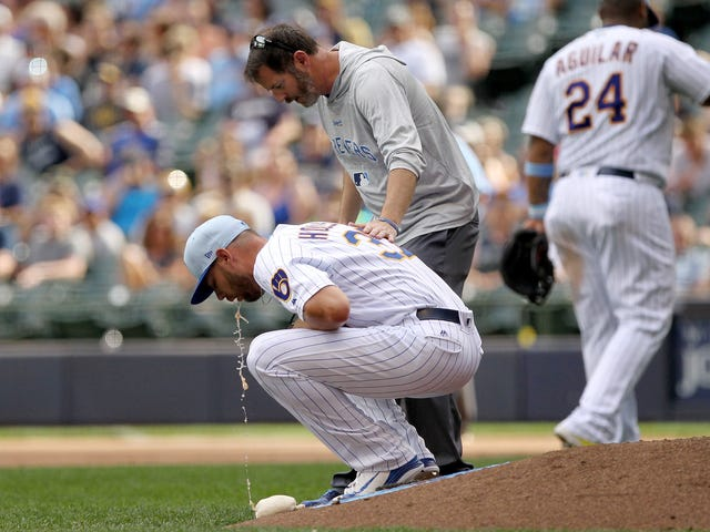 Brewers Pitcher Just Barfs Everywhere