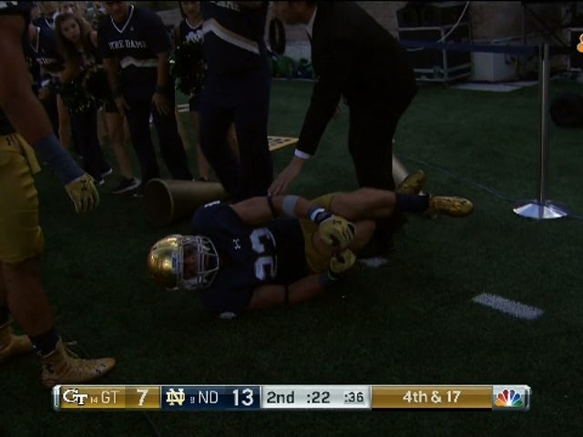 Notre Dame Defensive Back Knocked Out With Severe Knee Injury Suffered While Celebrating