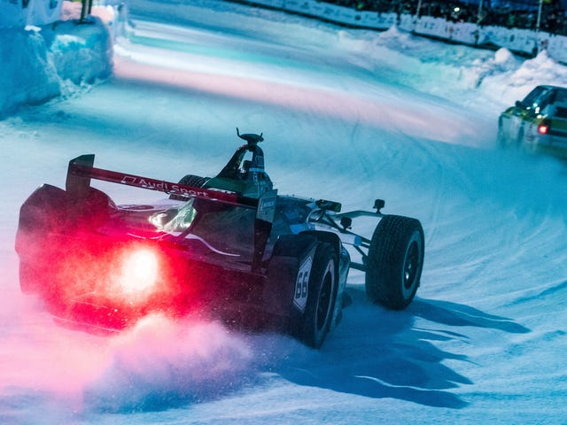 Last year's Formula E car looks great with about a trillion ice studs in its tires, but the Group B Quattro it's chasing still looks better suited to this kind of activity. I'd die for the opportunity to boot either of these around the ice circuit at Zell am See for the GP Ice Race.