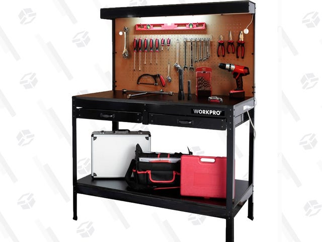 This $70 Work Bench Has a Light and Pegboard Built Right In